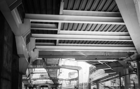 Under the Skywalk and Railway of Skytrain in Bangkok Thailand