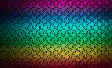 Colourful of metal diamond plate pattern, Backgrounds