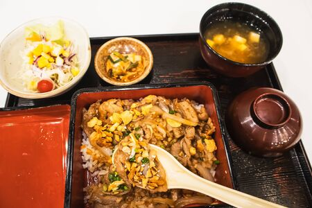 Rice topped with pork set in japanese style, Background food