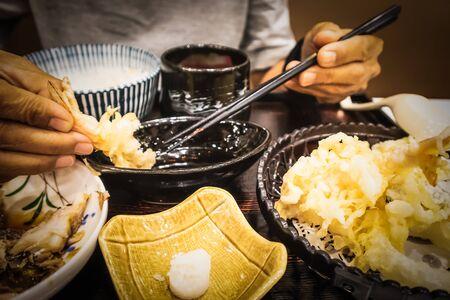 Shrimp tempura in set - Japanese food style, Food backgrounds