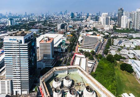 Aerial view of big city, Bangkok,Thailand, Cityscape backgrounds at Maleenont Building Rama 4 Bangkok Thailand, November 9, 2019