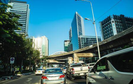Rush hour - Traffic jam on Sathorn road Bangkok Thailand, Backgrounds Фото со стока