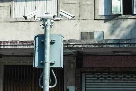 Security camera and urban video, CCTV with retro building background