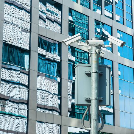 Security camera and urban video, CCTV with building background