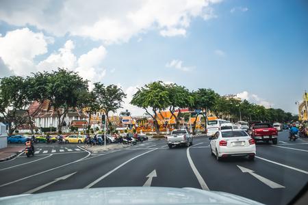 Traffic at the Phan Fa Bridge intersection, Ratchadamnoen Road, Bangkok, Thailand, 24 October 2019 Редакционное