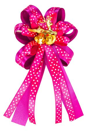 A golden deer on a pink bow isolated on white Фото со стока