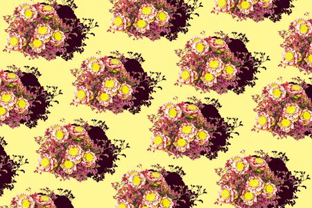 Lotus with red flowers isolated on yellow background, Pattern backgrounds Фото со стока