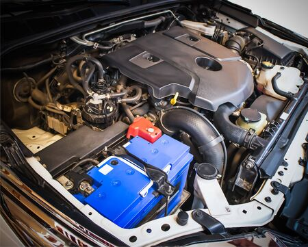 Close up 2.8 litre turbo diesel engine in hood of Toyota Fortuner, Backgrounds Фото со стока