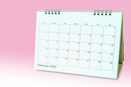 Calender 2020 Isolated on pink background