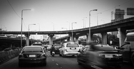 Traffic jam cars moving slowly in Bangkok Thailand, Backgrounds