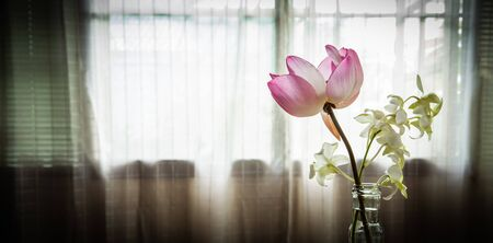 Pink lotus and White orchid in Glass bottle on marble table Zdjęcie Seryjne