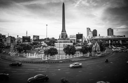 Traffic on Victory Monument at Phahon Yothin Road Phaya Thai Subdistrict Bangkok Thailand, June 3, 2020 Editorial