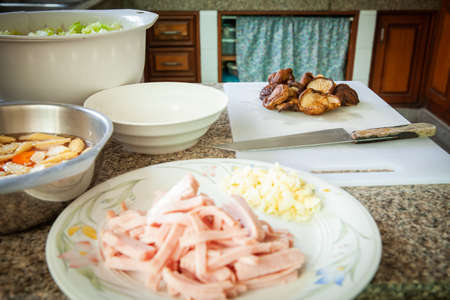 Prepare food ingredients in the kitchen, Backgrounds Banco de Imagens