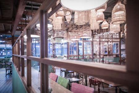 Interior of Thai restaurant in True Digital Park Community Mall at Sukhumvit road Bangkok Thailand, June 18, 2020