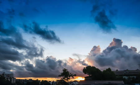 The beautiful of clouds and the morning sky background in countryside of Bangkok Banco de Imagens