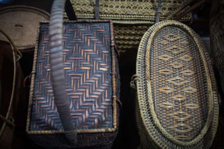 Beautiful old wicker bags in natural light, Vintage background Banque d'images