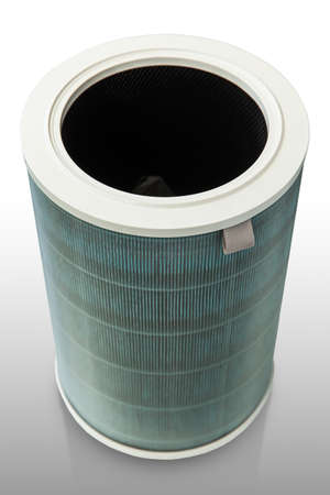 Air purifier filter after use isolated on white background