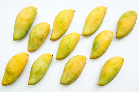 Ripe mangoes isolated on white background, Fruit pattern