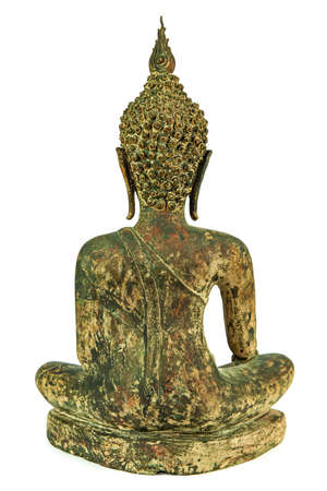Back side of ancient Buddha metal statue isolated on white background