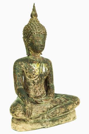 Oblique side of ancient Buddha metal statue isolated on white background Banco de Imagens