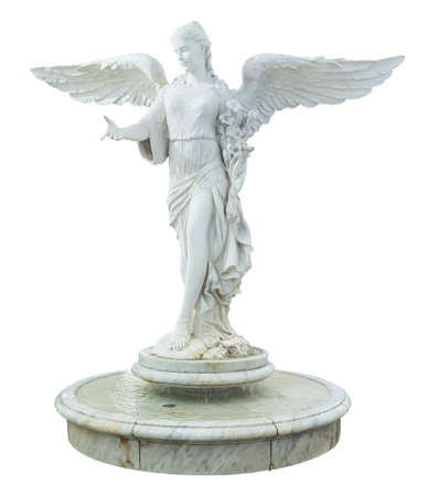 A beautiful angel decoration on a fountain isolated on white background Banco de Imagens