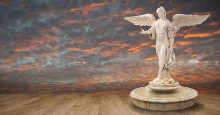 A beautiful angel decoration on a fountain with clouds and sky background Banco de Imagens