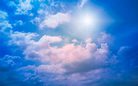 Beautiful colorful cloudy sky and the sun, Nature background