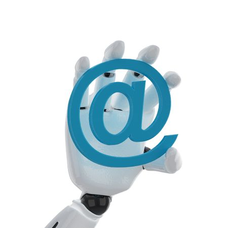 robotic hand hold a email at symbol photo