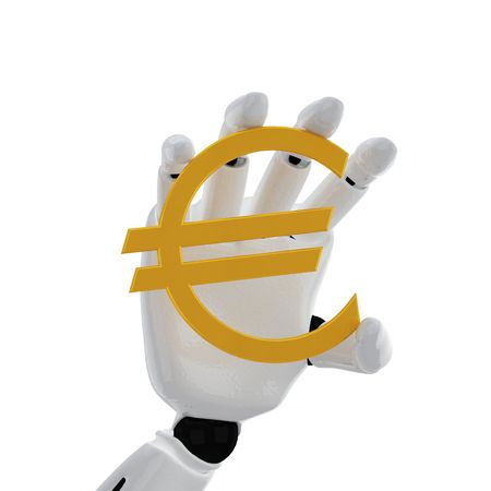 The robotic hand hold the euro sign photo