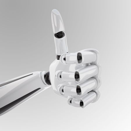 a 3d robotic hand giving the yeah sign photo