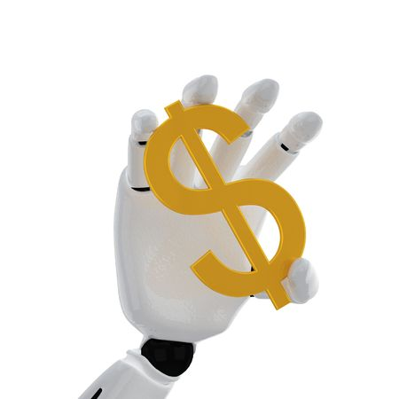 The robotic hand hold the dollar sign Stock Photo - 3777240