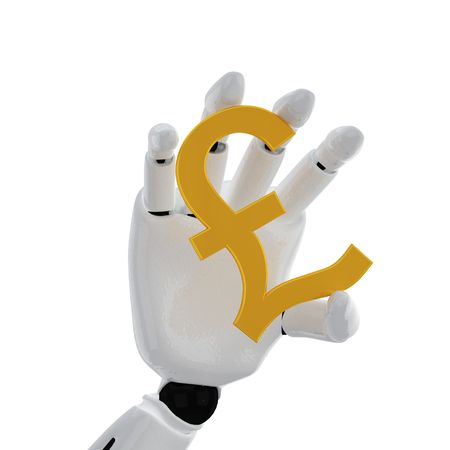 The robotic hand hold the pound sign Stock Photo - 3777238