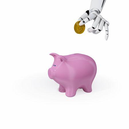 3d robotic hand put a coin into a piggy bank. Concept of savings. Stock Photo - 3890658