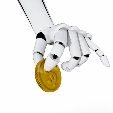 3d robotic hand hold a coin. Concept of payment Stock Photo - 3890665