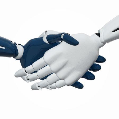 conglomerate: 3D rendered handshake of 3d robotic hands.