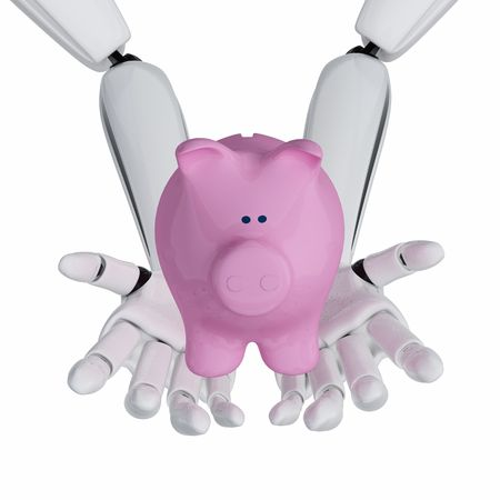 3d robotic hands hold a piggy bank Stock Photo - 3890660
