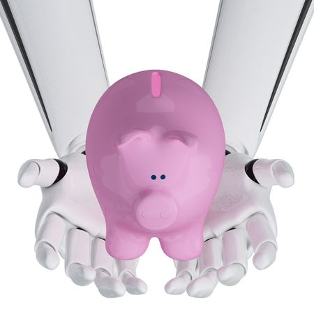 3d robotic hands hold a piggy bank Stock Photo - 3890664