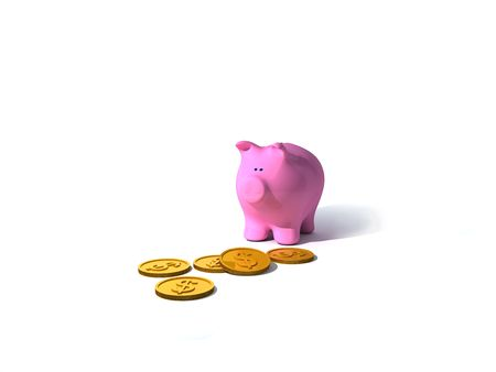 3d Render. Piggy Bank with some coins. Stock Photo - 3890657