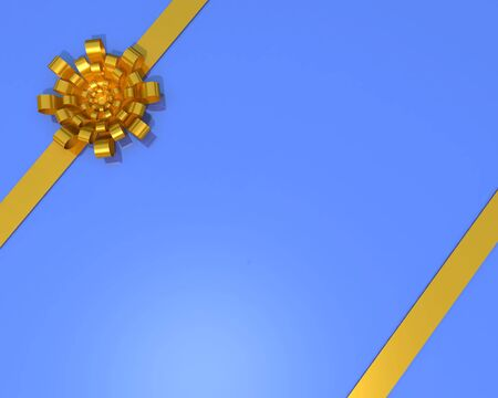 colden: Gift colden bow and ribbon on the blue background