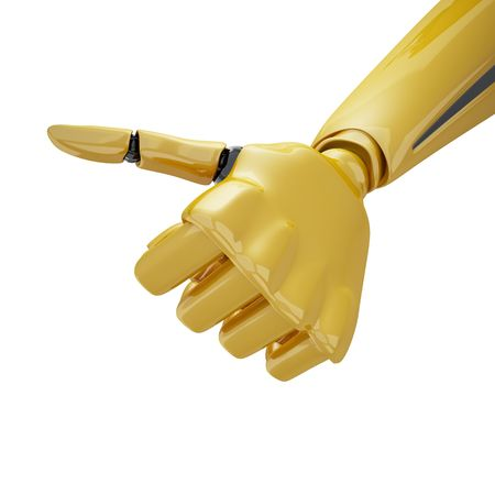 electronic voting: Gold 3d robotic hand giving the  Stock Photo