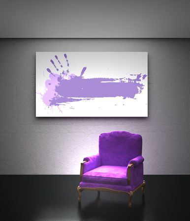 Purple armchair with place on the wall for yours text photo