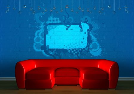 Red couch with empry frames in blue minimalist interior photo