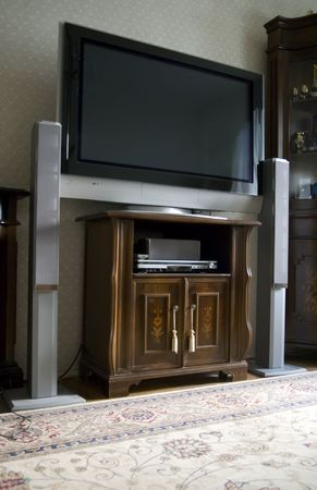 speakers: Home theater in living room Archivio Fotografico