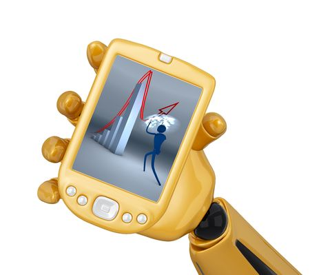 Gold 3d robotic hand hold  gold pda. Stock Photo - 5566590
