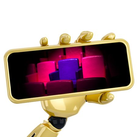 The 3d robotic hand hold a blank plate to put your text. Stock Photo - 5566603