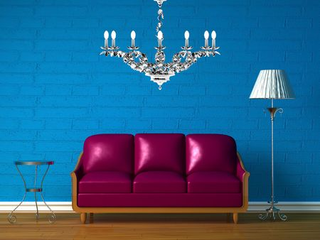 Purple couch, table, chandelier  and standard lamp in  blue minimalist interior photo