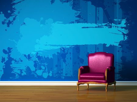 Purple chair in blue minimalist interior  Stock Photo