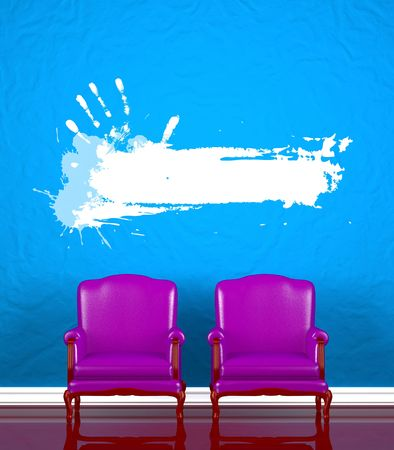 Two chairs  near  blue wall Stock Photo - 5566530