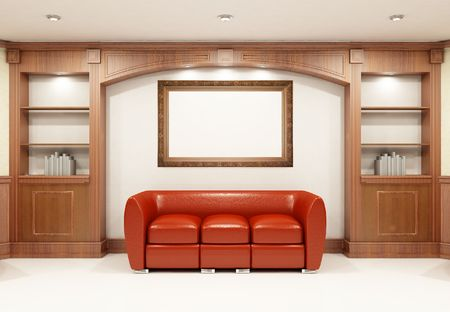 Red sofa with place on the wall for yours text Stock Photo - 5566459