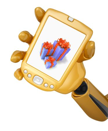 Gold 3d robotic hand hold a gold pda with gift boxes. photo